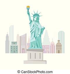 bienvenida, a, nueva york, cartel, con, statue of liberty