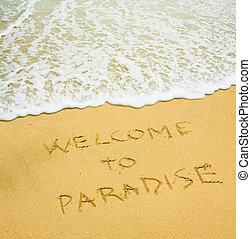 bienvenida, a, paraíso