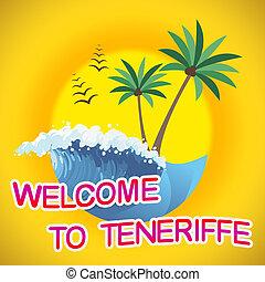 bienvenida, a, teneriffe, medios, tiempo verano, y, playas