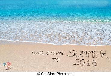 bienvenida, a, verano, 2016, escrito, en, un, playa tropical