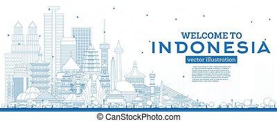 bienvenida, azul, contorno, contorno, edificios., indonesia