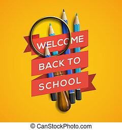 bienvenida, back to la escuela, en, fondo amarillo