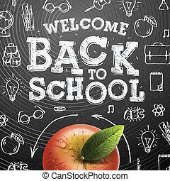 bienvenida, back to la escuela, plano de fondo, con, manzana roja