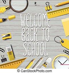bienvenida, back to la escuela, plantilla