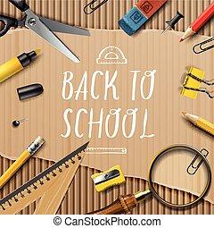 bienvenida, back to la escuela, plantilla, con, escuelas, suministros, en, cartón, textura, plano de fondo