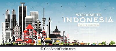 bienvenida, edificios, azul, contorno, gris, indonesia, sky.