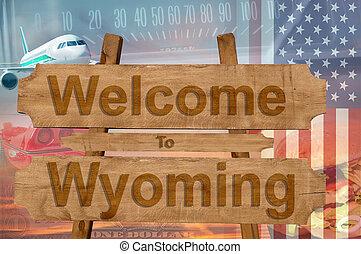 bienvenida, estados unidos de américa, wyoming, madera, ...
