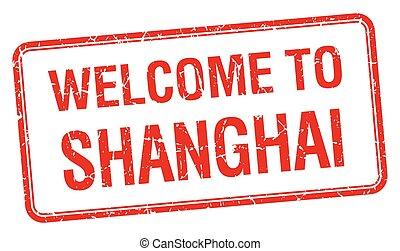 bienvenida, grunge, estampilla, shanghai, cuadrado, rojo