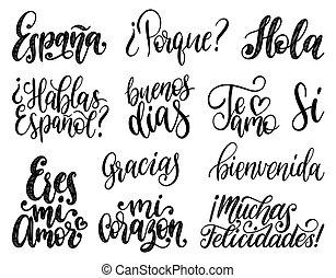 Bienvenida, Hola, Gracias, Espana translated from Spanish...