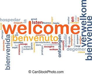 bienvenida, idiomas, plano de fondo, concepto