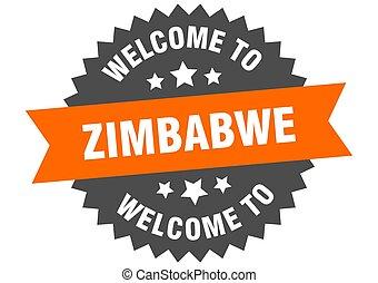bienvenida, naranja, pegatina, signo., zimbabwe