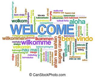 bienvenida, palabra, etiquetas