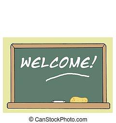 bienvenida, pizarra, en, un, habitación de clase