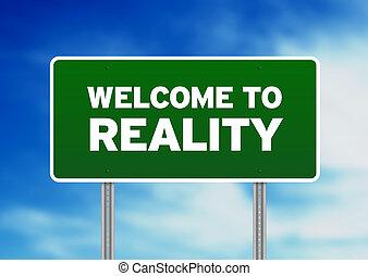 bienvenida, -, realidad, verde, señal, camino
