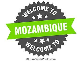 bienvenida, verde, pegatina, mozambique, signo.