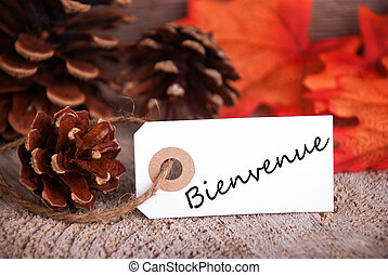bienvenue, automne, étiquette