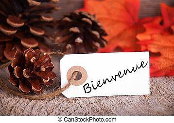 bienvenue, op, een, herfst, etiket
