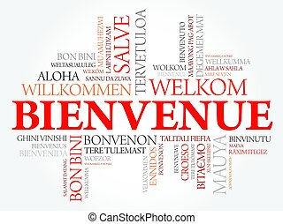 Bienvenue (Welcome in French) word cloud in different ...