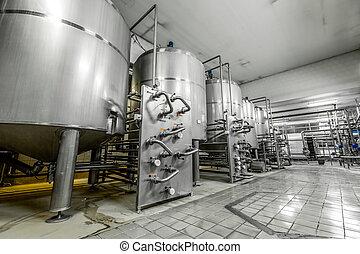 bier aanmaak, faciliteit, is, een, moderne, metaal,...