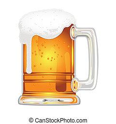 bier, blaas, glas mok, witte
