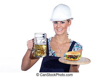 bier, de arbeider van de bouw