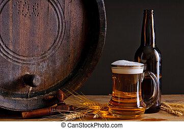bier, en, houten vat