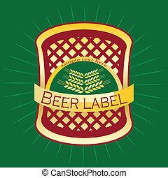 bier, etiket, design.