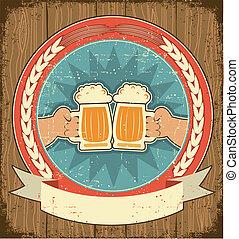 bier, etikett, satz, auf, altes , papier, texture.vintage, hintergrund, mit, mann, hände