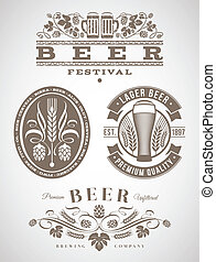 bier, etiketten, emblems