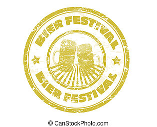 Grunge rubber stamp, with the Beer Mugs and text Bier Festival written inside, vector illustration