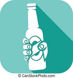 bier, holdingsfles, hand