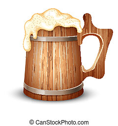 bier, houten, mok