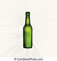 bier, illustratie, realistisch, vector, groene, fles