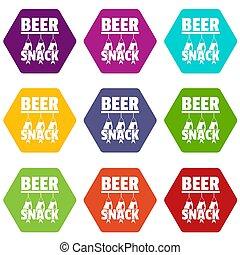 bier, imbiß, heiligenbilder, satz, 9