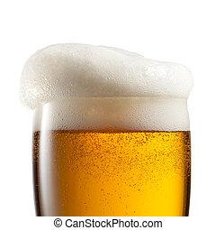 bier, in, glas, freigestellt, weiß, hintergrund