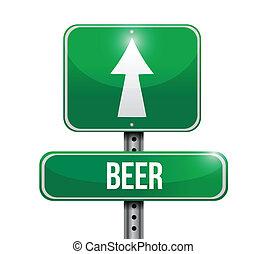bier, ontwerp, illustratie, meldingsbord
