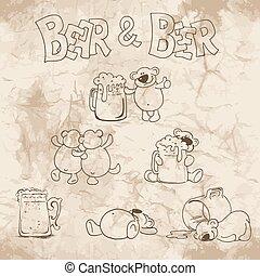 bier, papier, oud, beer