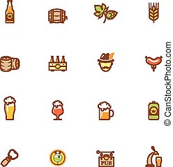 bier, pictogram, set