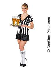 bier, scheidsrechter, blad, vasthouden