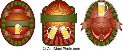 bier, set, etiket