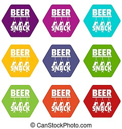 bier, snack, iconen, set, negen