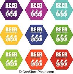 bier, snack, iconen, set, negen, vector