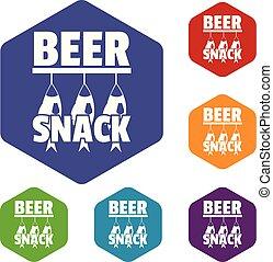 bier, snack, iconen, vector, hexahedron