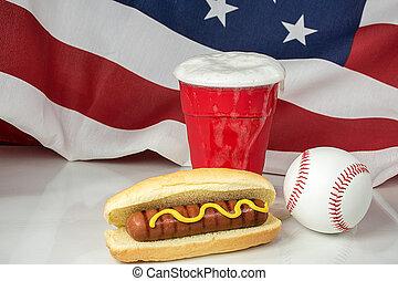 bier, und, heißer hund, mit, baseball, und, fahne