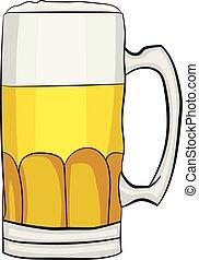 bier, vector, spotprent, mok