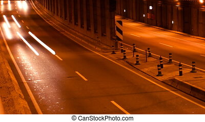 bies, timelapse, autosnelweg, scène, barcelona, verkeer, ...
