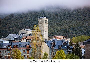 Biescas village in Huesca Aragon Pyrenees of Spain in foggy ...