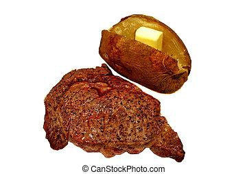 bife, batata assada