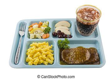 bife, estilo, cafeteria, salisbury