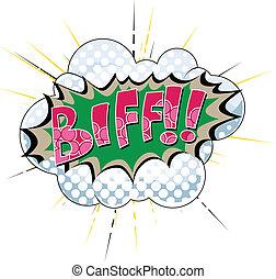biff, -, cómico, expresión, vector